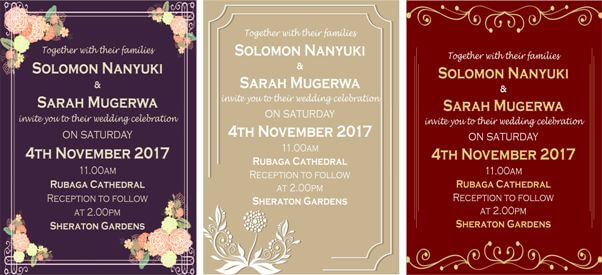 Use a Text Card Design that enhances your Wedding Invitations' Beauty!