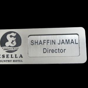 reusable silver name tag